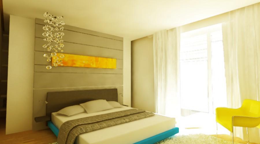 Denná zóna rodinného domu návrh interieru obývacej izby spálňa